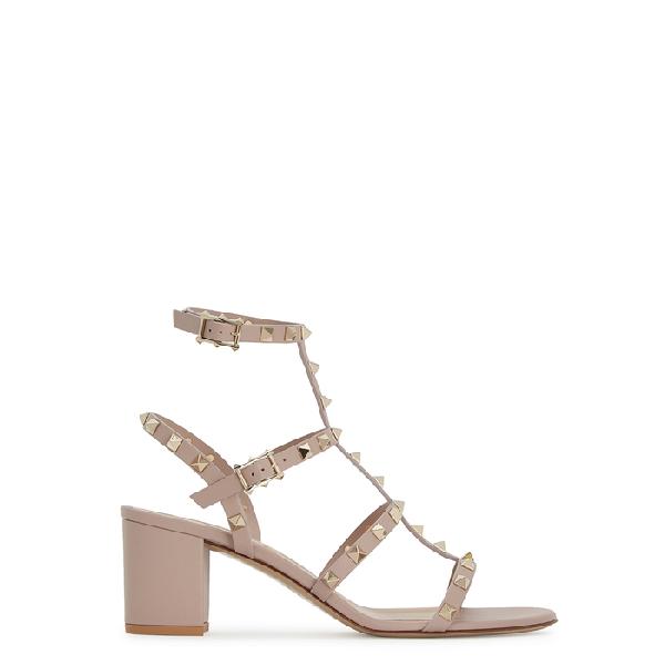 4813b2b74 Valentino Rockstud Block-Heel Leather Sandals In Beige | ModeSens