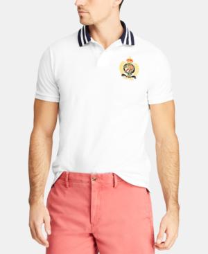 Men's Custom Slim Fit Crest Mesh Polo Shirt In White