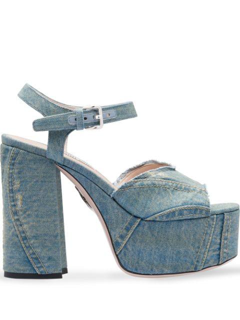 Miu Miu Denim Platform Sandals In Blue