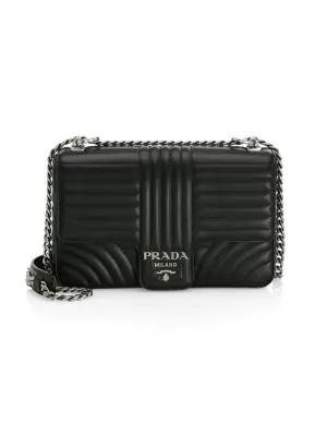 26703421ce1a5e Prada Large Diagramme Leather Shoulder Bag In Black | ModeSens