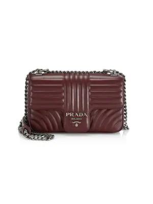21e761dba08f24 Prada Diagramme Leather Shoulder Bag In Granato   ModeSens