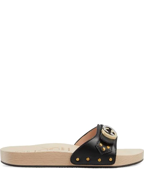 Gucci Leather Slide Sandal With InterlockingG In Black