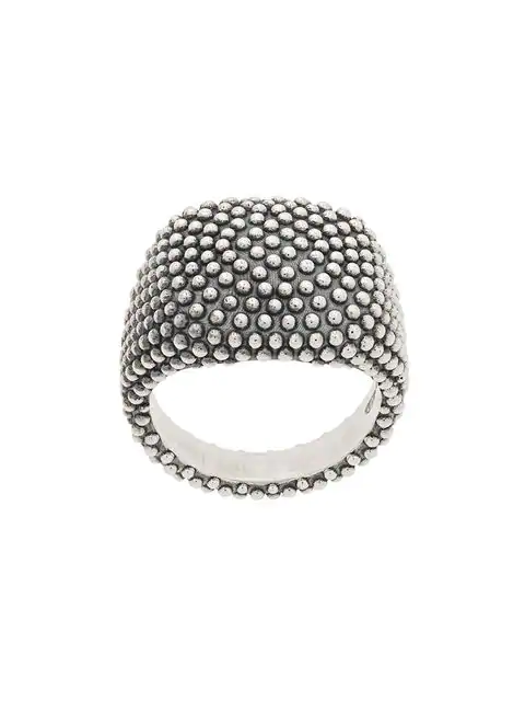 Nove25 Dotted Square Signet Ring In Silver