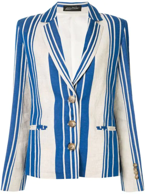 Anna October Striped Blazer In White