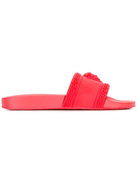 Versace Men's Medusa & Greek Key Shower Slide Sandals In Red