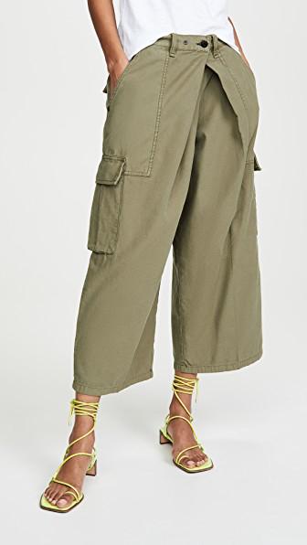 Rag & Bone Cargo Wide-leg Culotte Pants In Olive