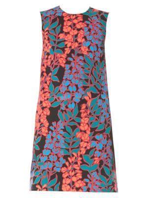 2f69bd86def8d Carolina Herrera Sleeveless Floral Shift Dress In Black Multi | ModeSens