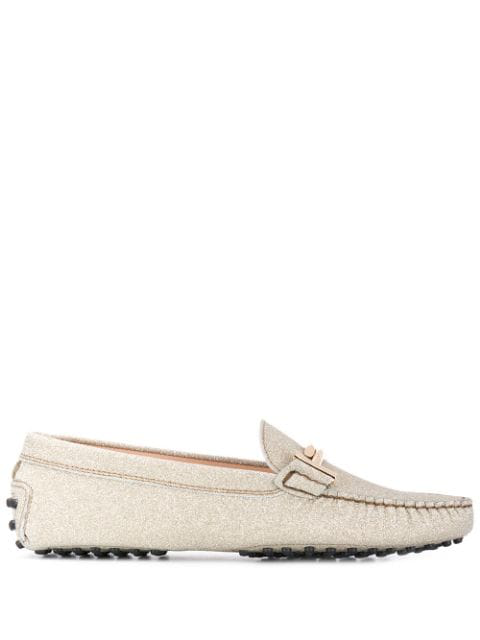 Tod's Gommino Double T Glitter Leather Driving Loafers In G005 Oro Chiaro