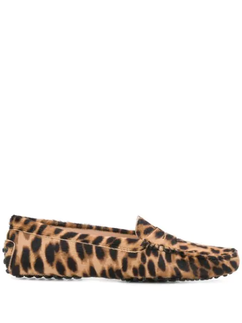 Tod's Leopard Print Loafers In Brown
