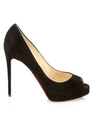 843cb407d3e Christian Louboutin New Very Prive Suede Peep-Toe Pumps In Black ...