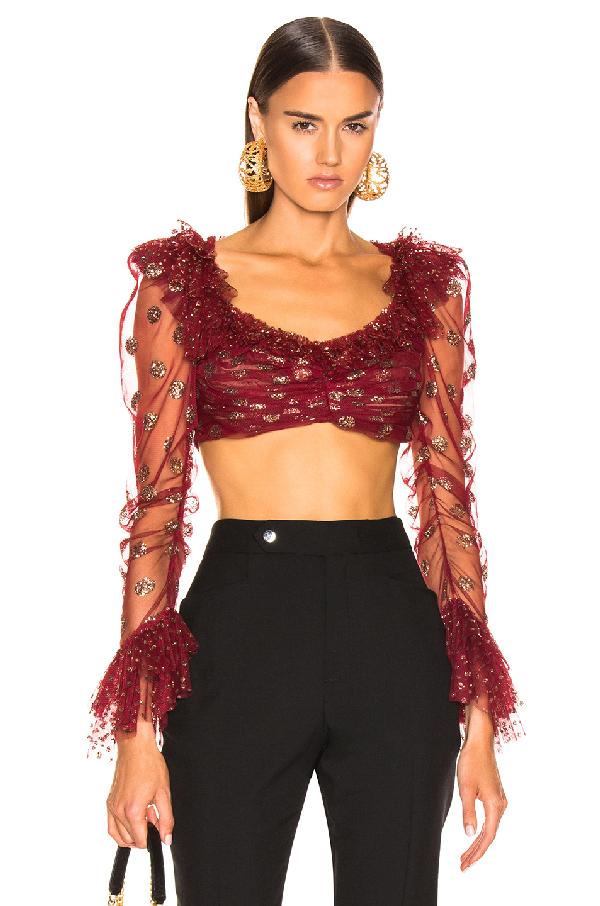 Raisa Vanessa Raisa&vanessa Glittered Ruffle Top In Red In Bordeaux