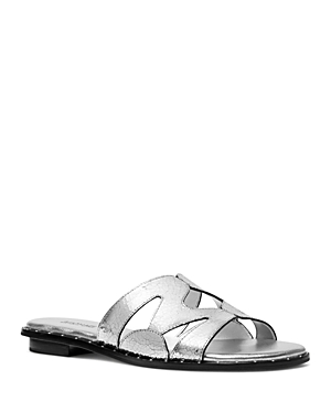 ed42a7ccc4c Michael Michael Kors Women's Annalee Slide Sandals In Silver | ModeSens