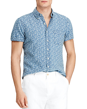 Polo Ralph Lauren Seaside-Print Linen Classic Fit Button-Down Shirt - 100% Exclusive In Blue
