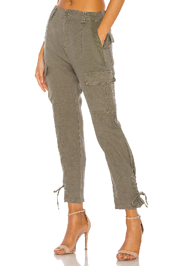 Joie Telutci Tie Cuff Linen Cargo Pants In Fatigue