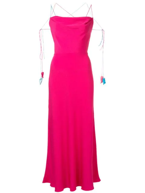 Anna October Spaghetti Straps Long Dress In Pink