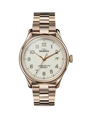 Shinola Men's Vinton Stainless Steel Bracelet Watch In Gold