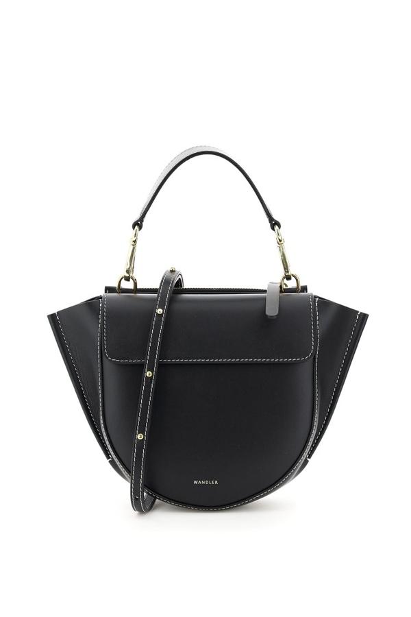 Wandler Medium Hortensia Leather Handbag In Black White Stitch