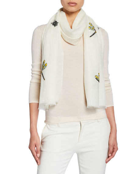 K Janavi Dragonflies And Bug Embroidered Merino Wool Scarf In Ivory