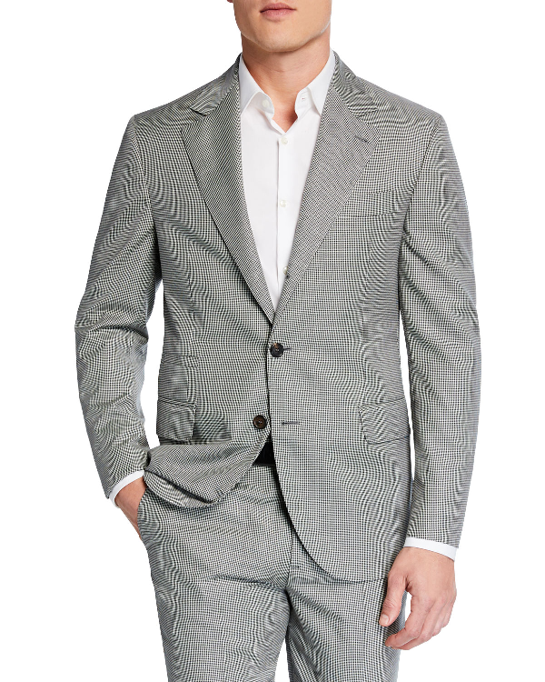Brunello Cucinelli Men's Micro-Houndstooth Two-Piece Wool Suit In Gray