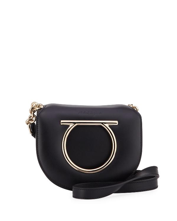 3a9ddcff2b23 Salvatore Ferragamo Vela Small Leather Crossbody Bag In Black | ModeSens