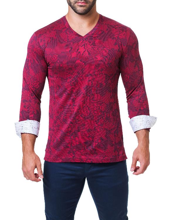 40f327287ce6 Maceoo Men's Edison Cloud V-Neck Shirt, Red | ModeSens