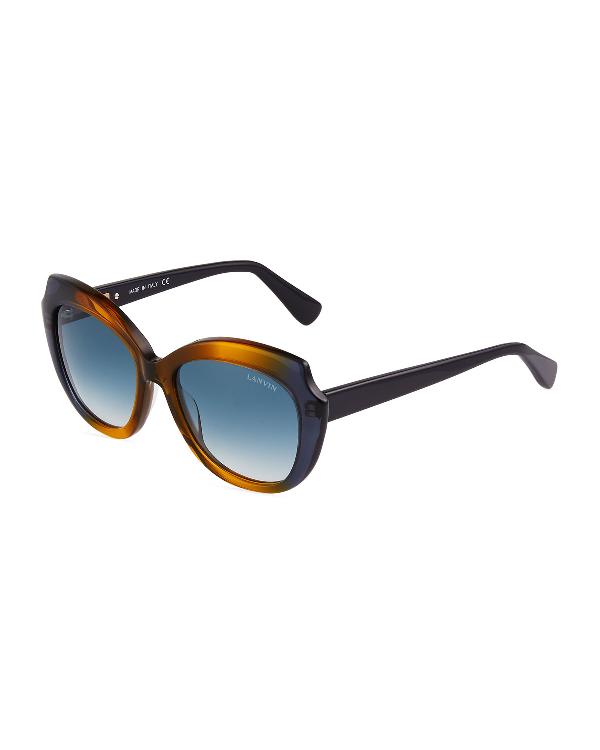 d8fda4d0e2 Lanvin Oversized Two-Tone Acetate Cat-Eye Sunglasses In Havana Fade ...