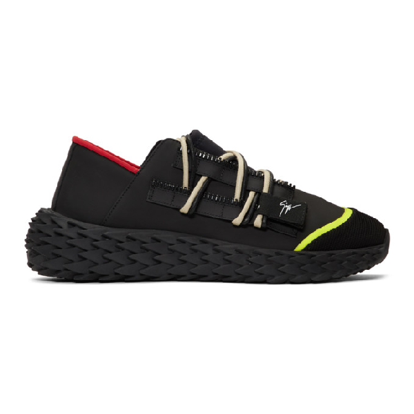 Giuseppe Zanotti Men's Neoprene Textured-Sole Running Dad Sneakers In Black