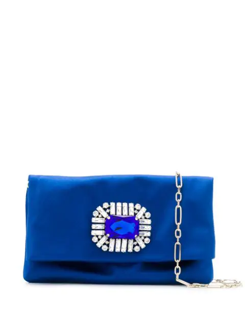 Jimmy Choo Titania Electric Blue Satin Clutch Bag With Jewelled Centre Piece