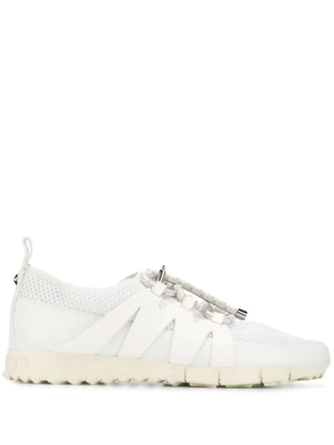 Jimmy Choo Nija White Leather Mix And Grey Mesh Trainer With Cord Toggle