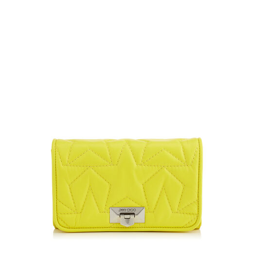 Jimmy Choo Helia Clutch In Fluo Yellow