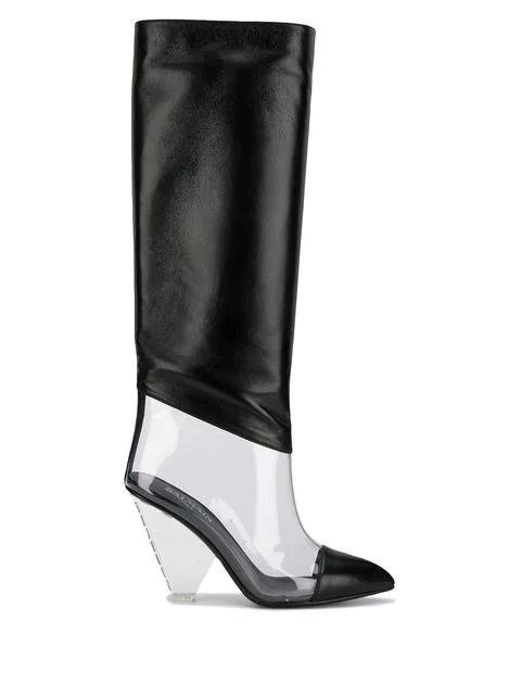 Balmain Lisy Leather & Pvc Knee Boots In Black