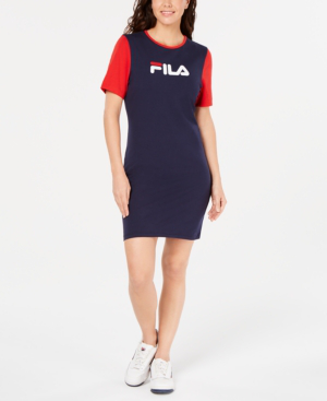 Fila Roslyn Colorblocked T-Shirt Dress In Peacoat/Chinese Red/White