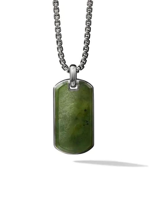 David Yurman Exotic Stone Nephrite Jade 35mm Tag In Ssbnj