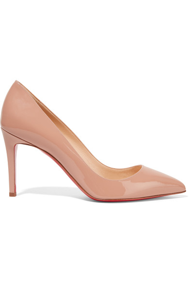 Christian Louboutin Decollete 85Mm Patent Leather Red Sole Pump In Beige
