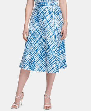 wide selection of colors online here hot-selling fashion Linen Belted Midi Skirt in Azure Combo