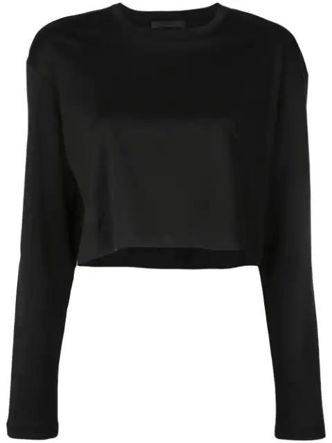 Wardrobe.nyc Release 03 Long Sleeve Crop Top In Black