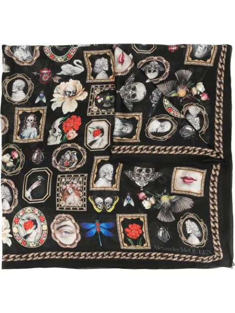Alexander Mcqueen Women's Cameo & Curiosity Wool-blend Scarf In Black