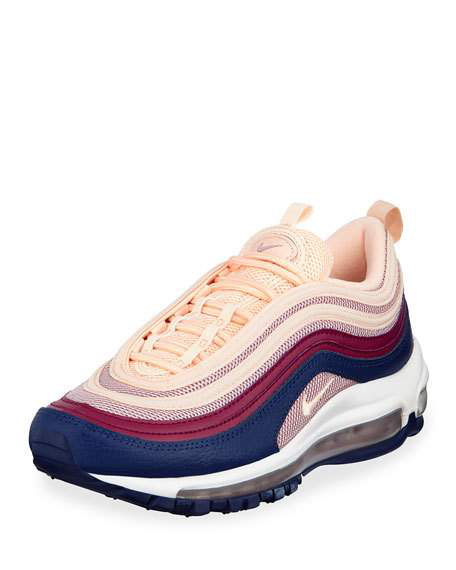 ed0e16ea1 Nike Air Max 97 Leather Running Sneakers In Crimson /Plum Chk | ModeSens