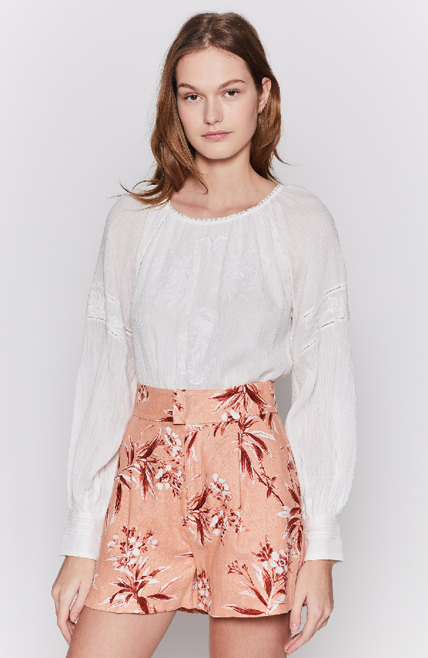 Joie Mitney Embroidered Detail Cotton Blouse In Porcelain