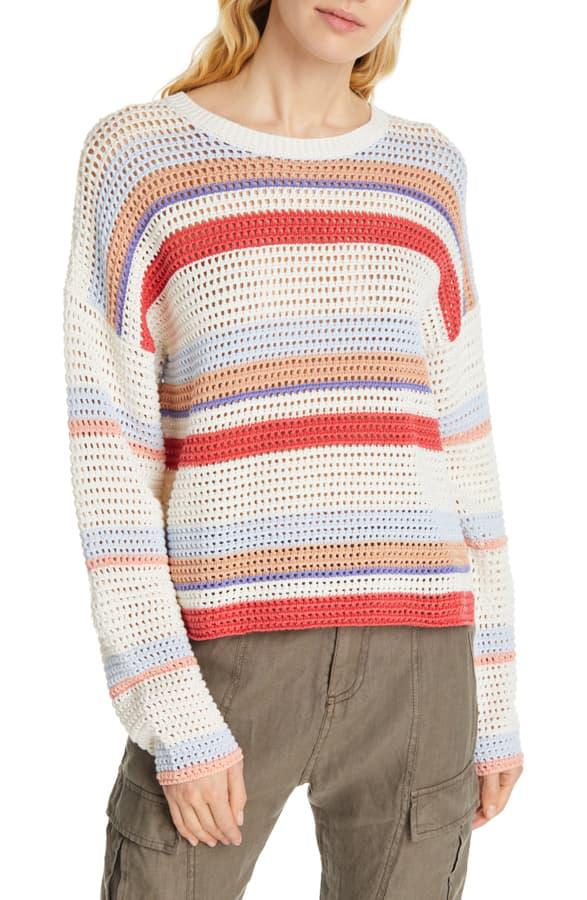 Joie Diza Stripe Cotton Sweater In Multi