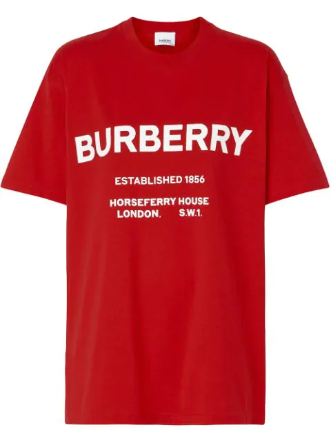 Burberry Horseferry Print Cotton Oversized T-Shirt In Red