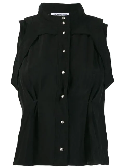 CourrÈGes Sleeveless Button Down Shirt In Black