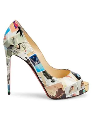 e7c653866c2 Christian Louboutin New Very PrivÉ 120 Printed Patent Leather Peep ...