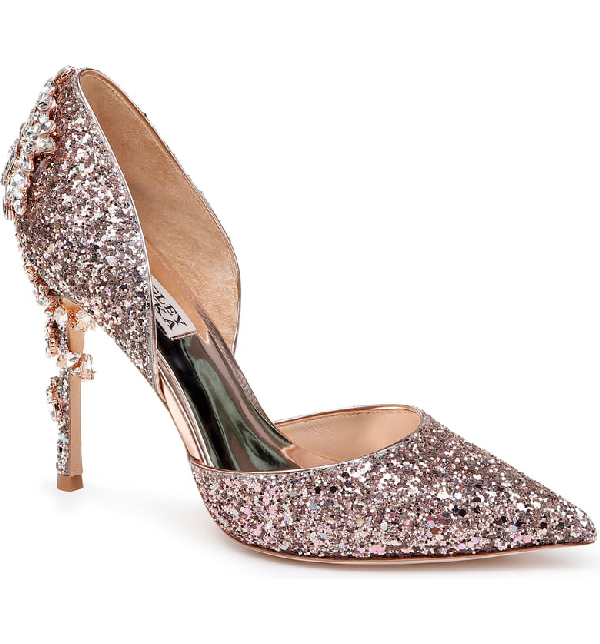 cca03dc26 Badgley Mischka Vogue Iii Glitter Pumps In Rose Gold Glitter