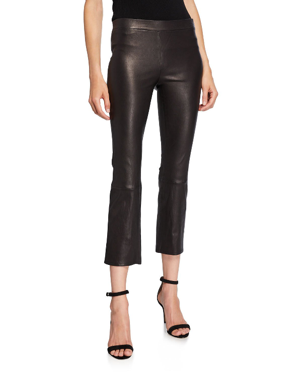 01e86025a29 J Brand Mid-Rise Boot-Cut Cropped Pull-On Leather Pants In Black