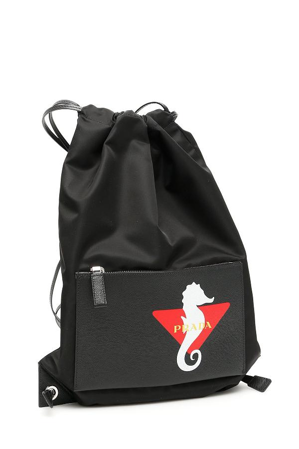 384a185deff37d Prada Drawstring Seahorse Print Backpack In Black | ModeSens