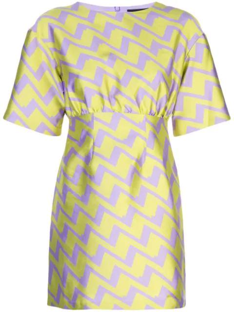 Cynthia Rowley Evanstron Zigzag Print Dress In Purple