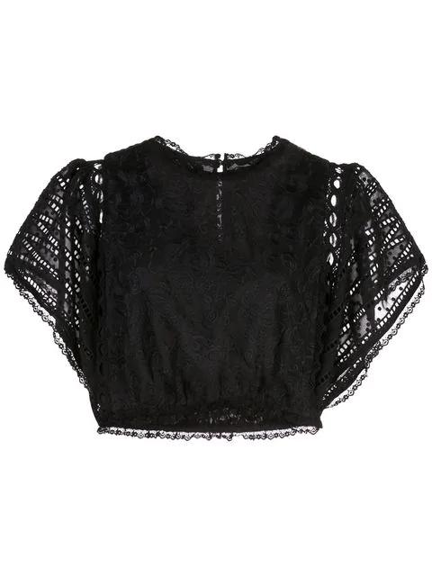 Cynthia Rowley Wicker Park Lace Top In Black