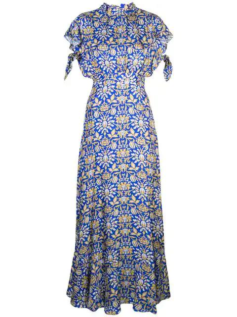 Cynthia Rowley 'talia' Kleid Mit FlatterÄrmeln In Romul - Royal Multi