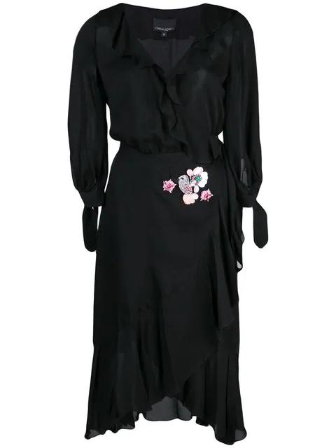 Cynthia Rowley Genevieve Ruffle Wrap Dress In Black